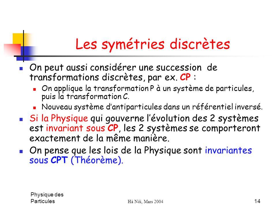Physique des Particules Hà Nôi, Mars 2004 14 Les symétries discrètes On peut aussi considérer une succession de transformations discrètes, par ex. CP
