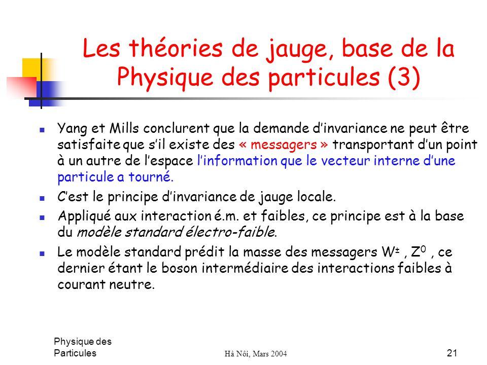 Physique des Particules Hà Nôi, Mars 2004 21 Les théories de jauge, base de la Physique des particules (3) Yang et Mills conclurent que la demande din