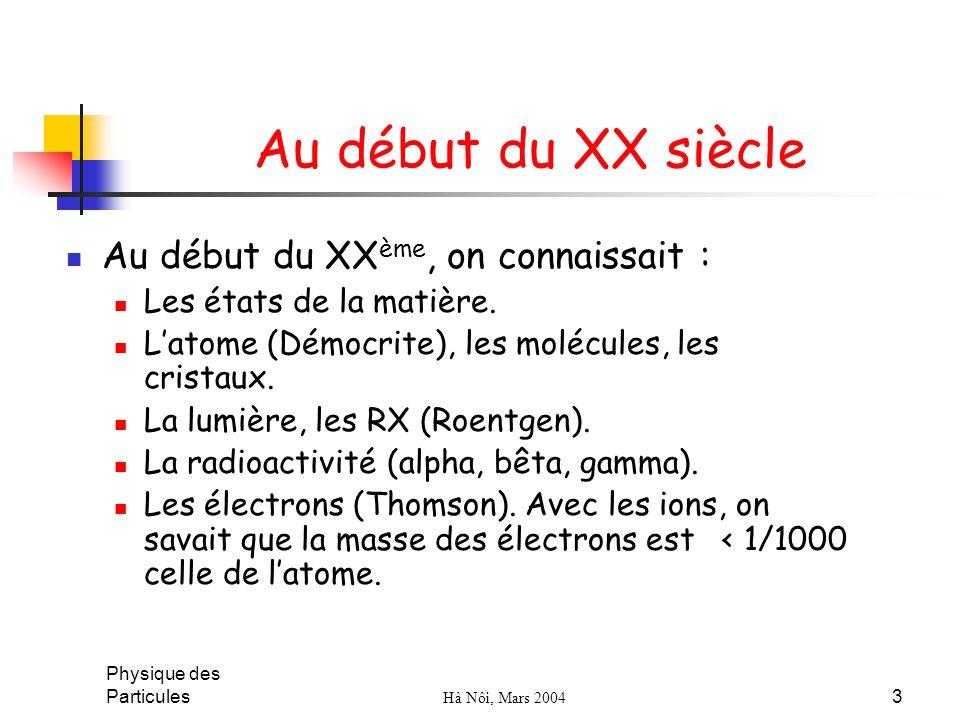 Physique des Particules Hà Nôi, Mars 2004 3 Au début du XX siècle Au début du XX ème, on connaissait : Les états de la matière. Latome (Démocrite), le