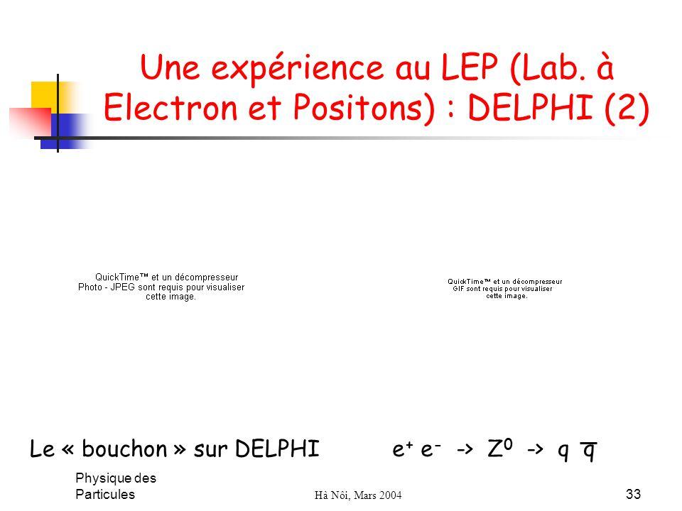 Physique des Particules Hà Nôi, Mars 2004 33 Une expérience au LEP (Lab. à Electron et Positons) : DELPHI (2) Le « bouchon » sur DELPHI e + e - -> Z 0