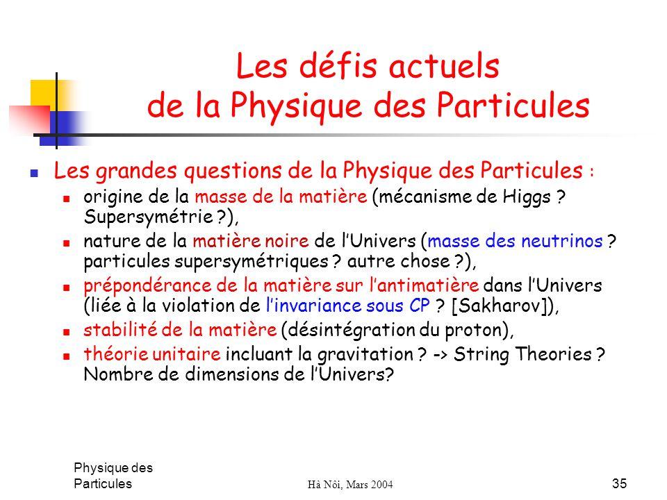 Physique des Particules Hà Nôi, Mars 2004 35 Les défis actuels de la Physique des Particules Les grandes questions de la Physique des Particules : ori