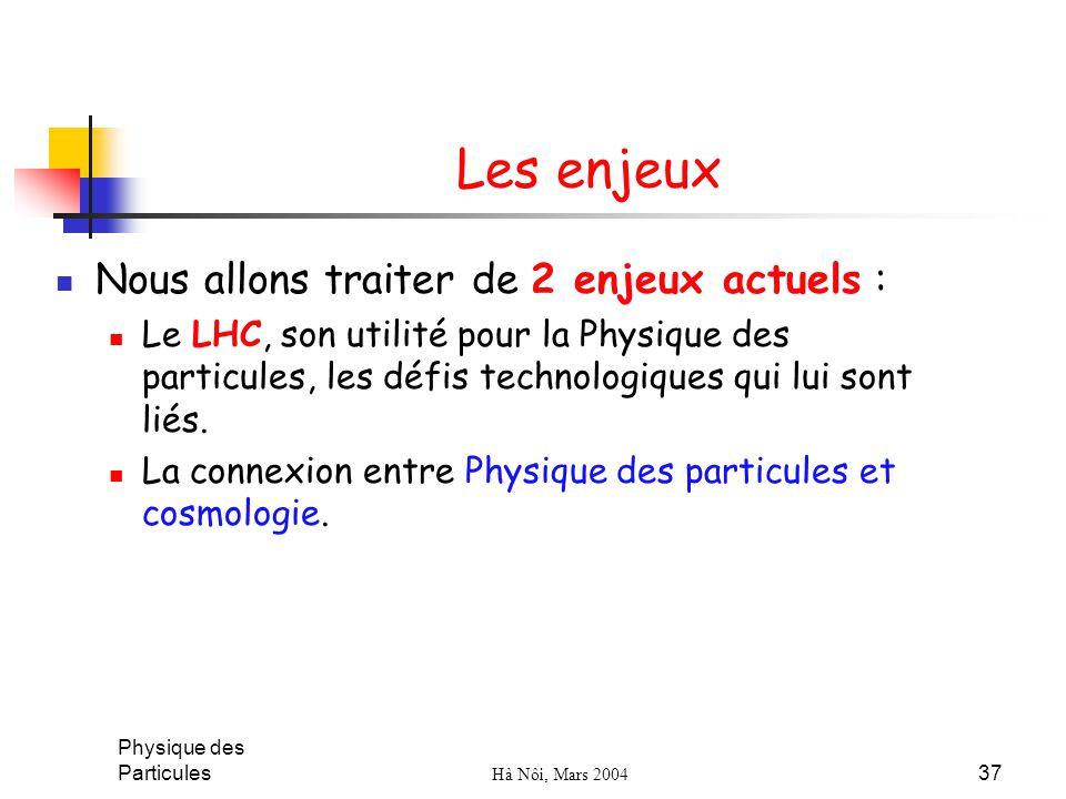 Physique des Particules Hà Nôi, Mars 2004 37 Les enjeux Nous allons traiter de 2 enjeux actuels : Le LHC, son utilité pour la Physique des particules,