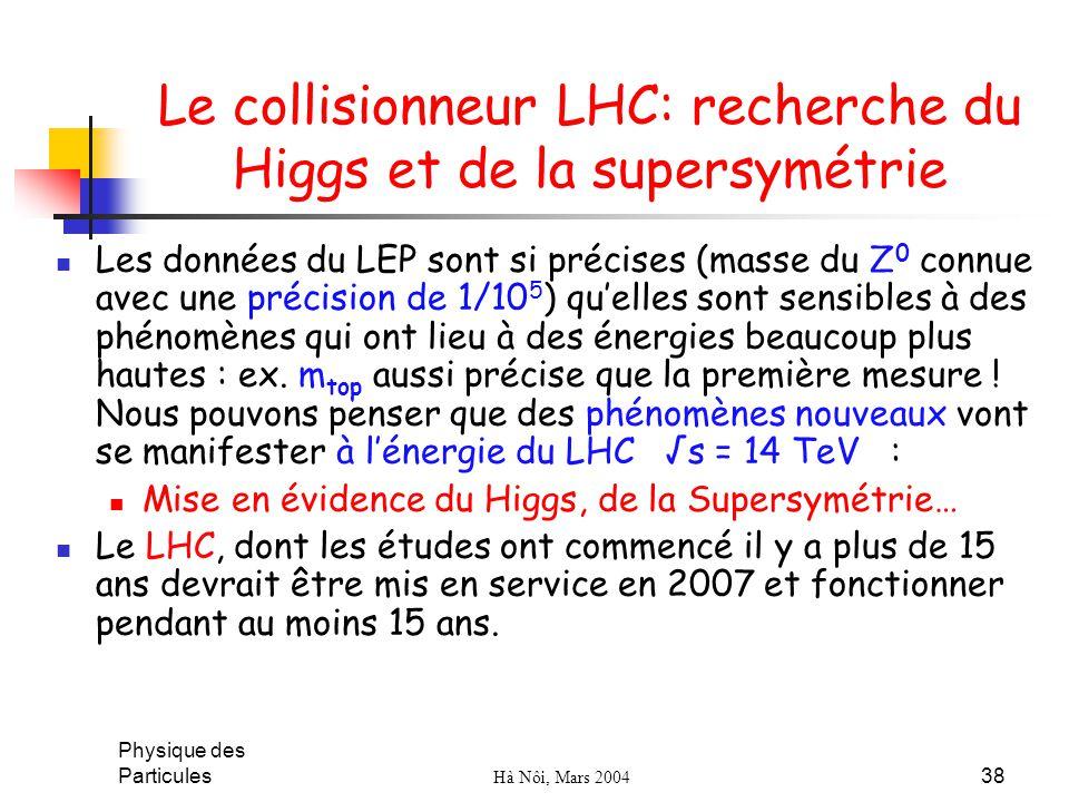 Physique des Particules Hà Nôi, Mars 2004 38 Le collisionneur LHC: recherche du Higgs et de la supersymétrie Les données du LEP sont si précises (mass