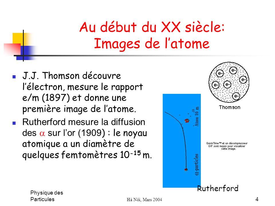 Physique des Particules Hà Nôi, Mars 2004 4 Au début du XX siècle: Images de latome J.J. Thomson découvre lélectron, mesure le rapport e/m (1897) et d