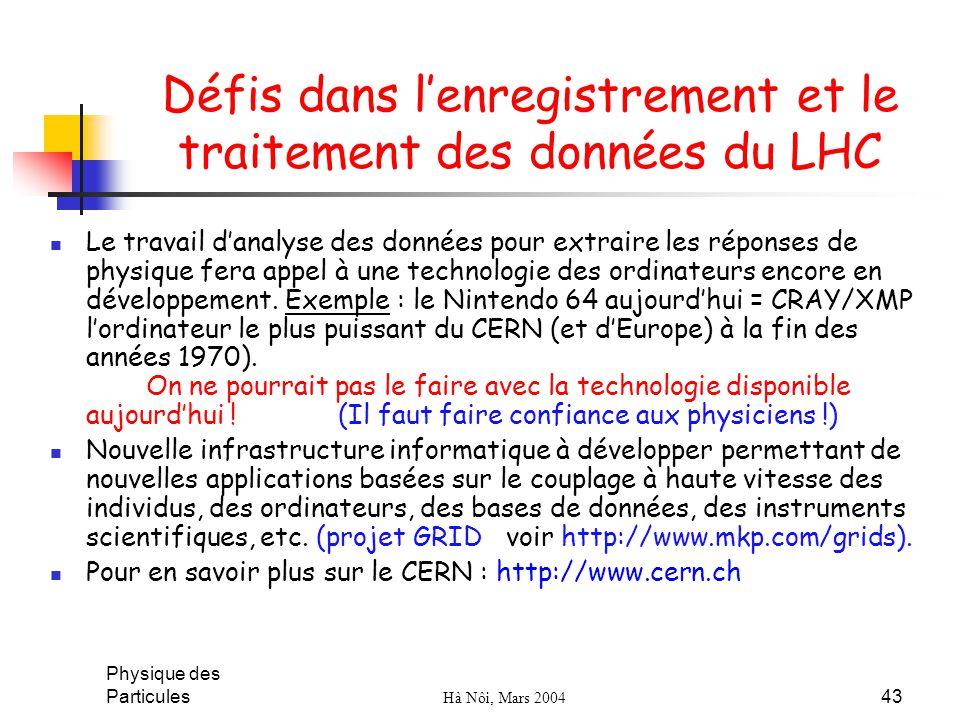 Physique des Particules Hà Nôi, Mars 2004 43 Défis dans lenregistrement et le traitement des données du LHC Le travail danalyse des données pour extra
