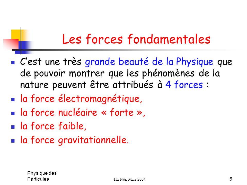 Physique des Particules Hà Nôi, Mars 2004 6 Les forces fondamentales Cest une très grande beauté de la Physique que de pouvoir montrer que les phénomè