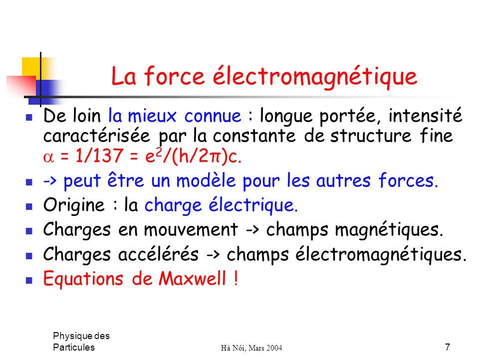 Physique des Particules Hà Nôi, Mars 2004 7 La force électromagnétique De loin la mieux connue : longue portée, intensité caractérisée par la constant