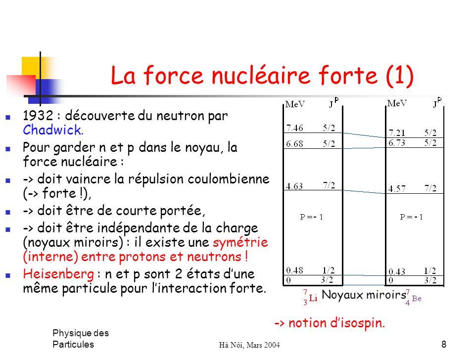 Physique des Particules Hà Nôi, Mars 2004 8 La force nucléaire forte (1) 1932 : découverte du neutron par Chadwick. Pour garder n et p dans le noyau,
