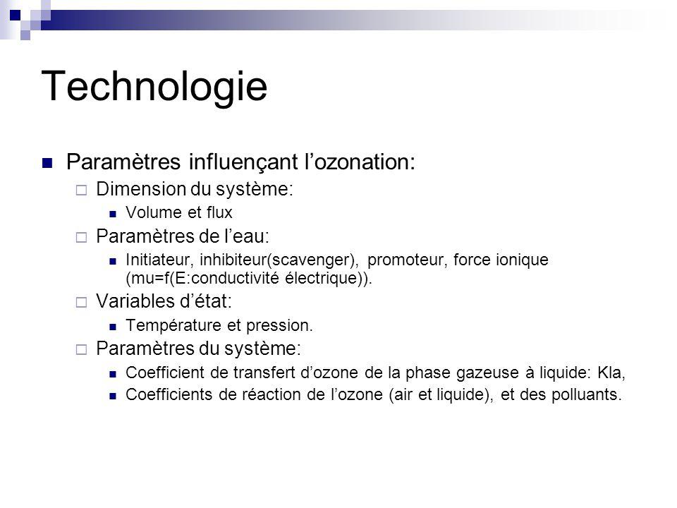 Technologie Paramètres influençant lozonation: Dimension du système: Volume et flux Paramètres de leau: Initiateur, inhibiteur(scavenger), promoteur, force ionique (mu=f(E:conductivité électrique)).