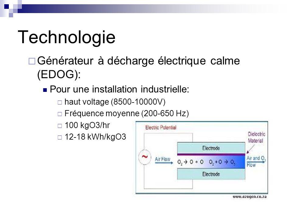 Technologie Générateur à décharge électrique calme (EDOG): Pour une installation industrielle: haut voltage (8500-10000V) Fréquence moyenne (200-650 Hz) 100 kgO3/hr 12-18 kWh/kgO3