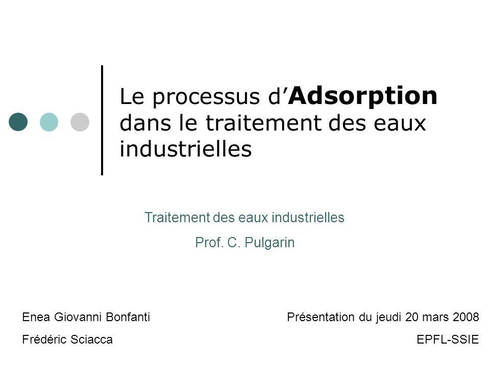 Le processus d Adsorption dans le traitement des eaux industrielles Traitement des eaux industrielles Prof. C. Pulgarin Enea Giovanni Bonfanti Frédéri