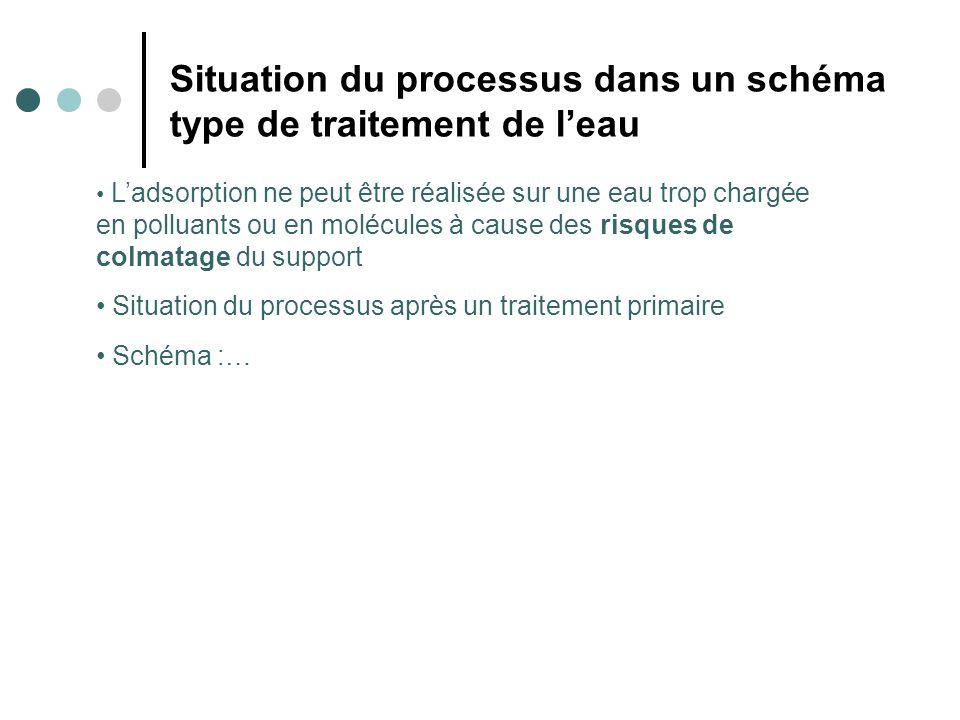 Situation du processus dans un schéma type de traitement de leau Ladsorption ne peut être réalisée sur une eau trop chargée en polluants ou en molécul