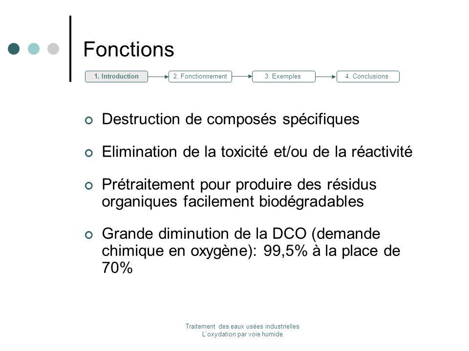 Traitement des eaux usées industrielles L'oxydation par voie humide Fonctions Destruction de composés spécifiques Elimination de la toxicité et/ou de