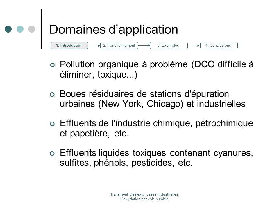 Traitement des eaux usées industrielles L'oxydation par voie humide Domaines dapplication Pollution organique à problème (DCO difficile à éliminer, to