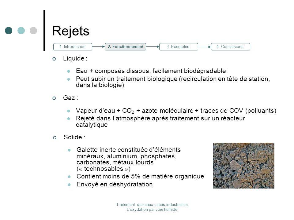 Traitement des eaux usées industrielles L'oxydation par voie humide Rejets Liquide : Eau + composés dissous, facilement biodégradable Peut subir un tr