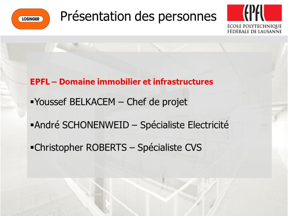 Présentation des personnes EPFL – Domaine immobilier et infrastructures Youssef BELKACEM – Chef de projet André SCHONENWEID – Spécialiste Electricité Christopher ROBERTS – Spécialiste CVS
