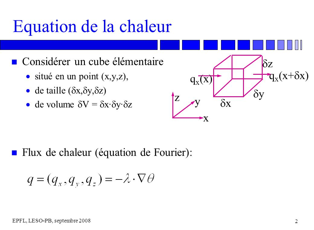EPFL, LESO-PB, septembre 2008 2 Equation de la chaleur n Considérer un cube élémentaire situé en un point (x,y,z), de taille ( x, y, z) de volume V = x· y· z n Flux de chaleur (équation de Fourier): x y z x y z q x (x+ x) q x (x)
