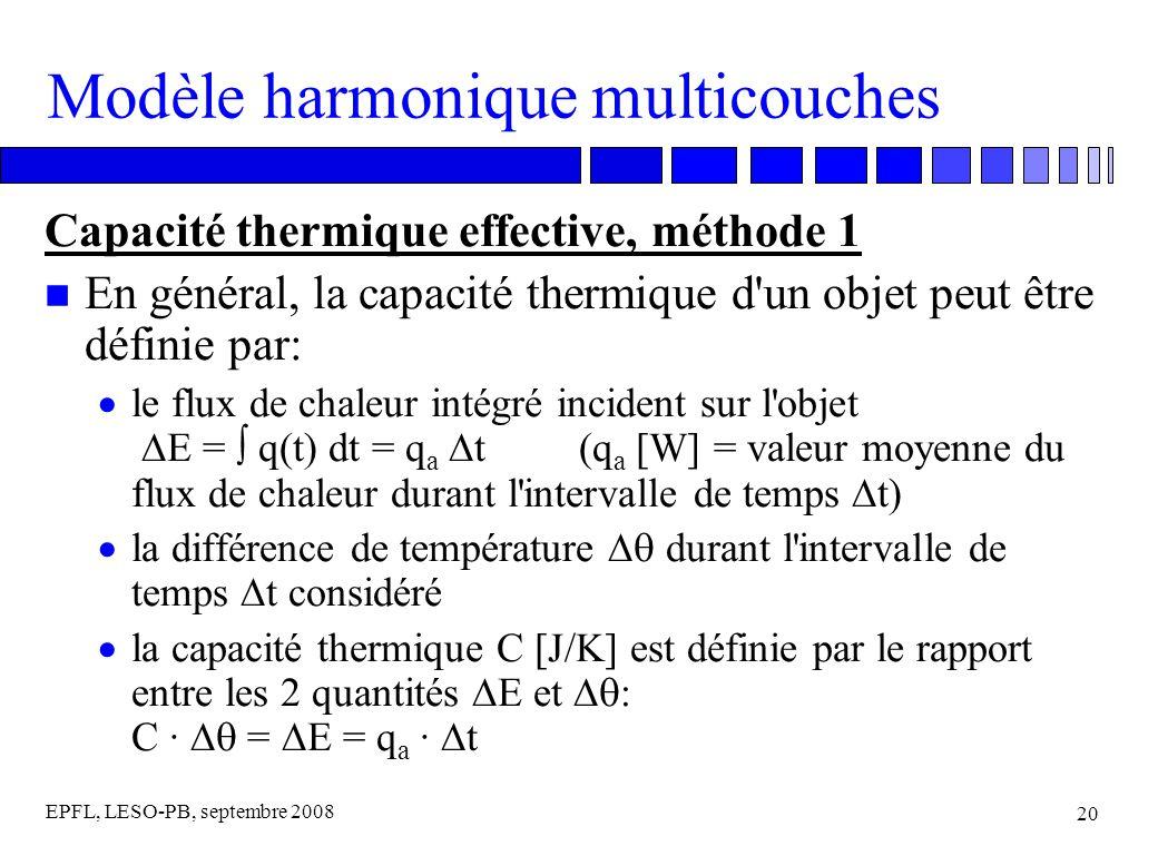 EPFL, LESO-PB, septembre 2008 20 Modèle harmonique multicouches Capacité thermique effective, méthode 1 n En général, la capacité thermique d un objet peut être définie par: le flux de chaleur intégré incident sur l objet E = q(t) dt = q a t (q a [W] = valeur moyenne du flux de chaleur durant l intervalle de temps t) la différence de température durant l intervalle de temps t considéré la capacité thermique C [J/K] est définie par le rapport entre les 2 quantités E et C · = E = q a · t