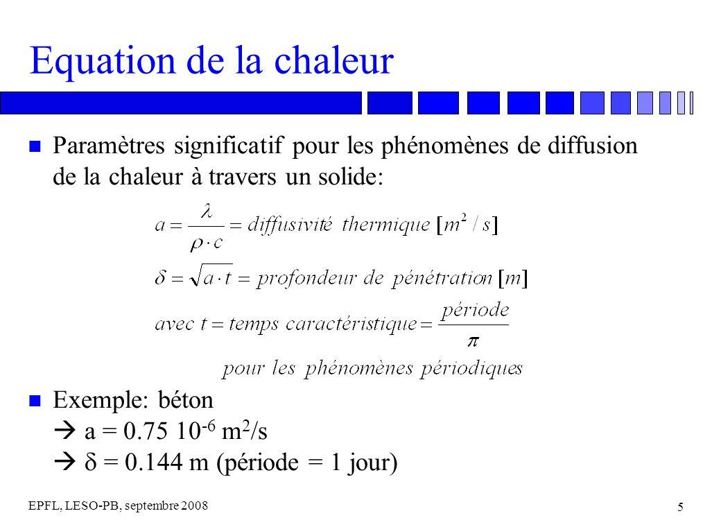 EPFL, LESO-PB, septembre 2008 5 Equation de la chaleur n Paramètres significatif pour les phénomènes de diffusion de la chaleur à travers un solide: Exemple: béton a = 0.75 10 -6 m 2 /s = 0.144 m (période = 1 jour)