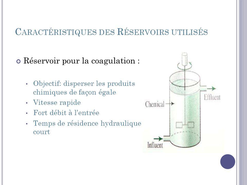 C ARACTÉRISTIQUES DES R ÉSERVOIRS UTILISÉS Réservoir pour la coagulation : Objectif: disperser les produits chimiques de façon égale Vitesse rapide Fo