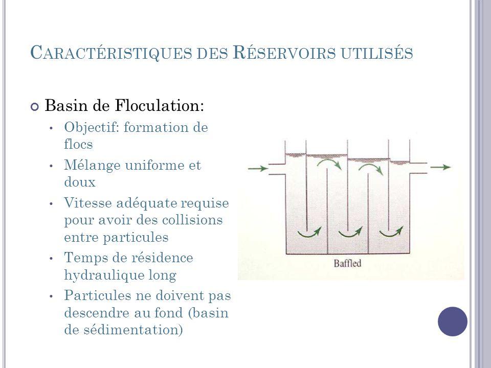 C ARACTÉRISTIQUES DES R ÉSERVOIRS UTILISÉS Basin de Floculation: Objectif: formation de flocs Mélange uniforme et doux Vitesse adéquate requise pour a