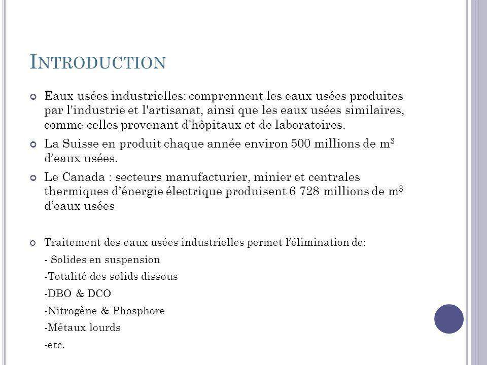 I NTRODUCTION Eaux usées industrielles: comprennent les eaux usées produites par l'industrie et l'artisanat, ainsi que les eaux usées similaires, comm
