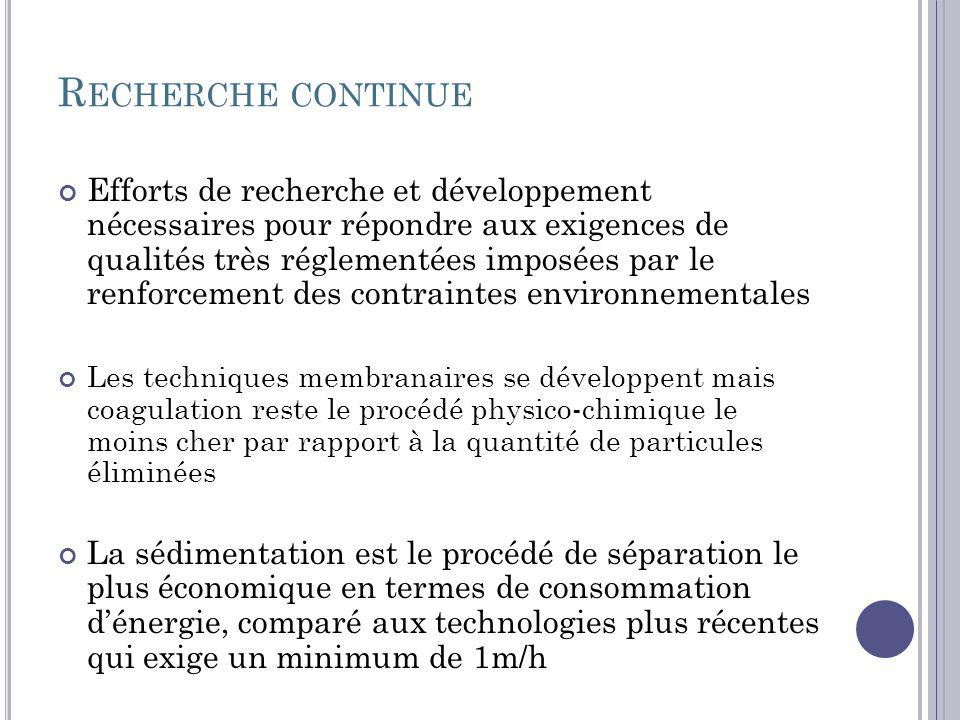R ECHERCHE CONTINUE Efforts de recherche et développement nécessaires pour répondre aux exigences de qualités très réglementées imposées par le renfor