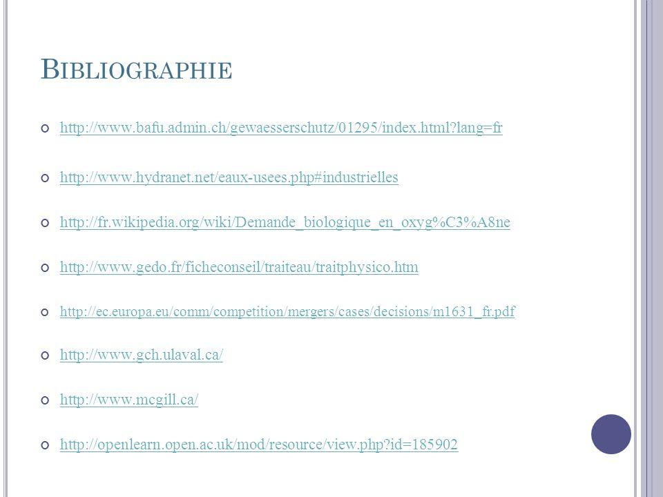 B IBLIOGRAPHIE http://www.bafu.admin.ch/gewaesserschutz/01295/index.html?lang=fr http://www.hydranet.net/eaux-usees.php#industrielles http://fr.wikipe
