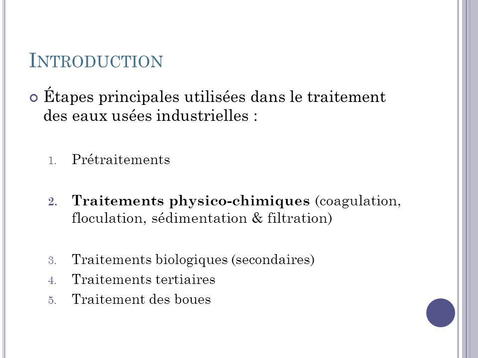 I NTRODUCTION Étapes principales utilisées dans le traitement des eaux usées industrielles : 1. Prétraitements 2. Traitements physico-chimiques (coagu