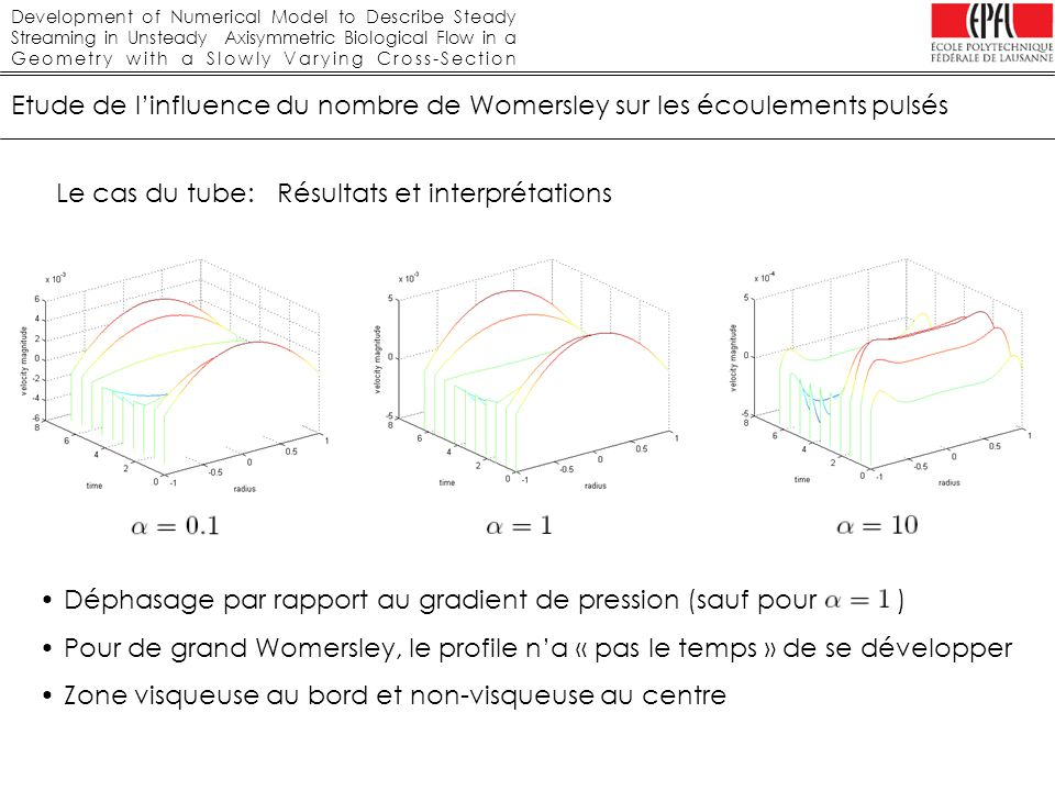 Development of Numerical Model to Describe Steady Streaming in Unsteady Axisymmetric Biological Flow in a Geometry with a Slowly Varying Cross-Section Etude numérique: géométrie avec variations de section Variation linéaire Le maillage: Commentaires Résultats