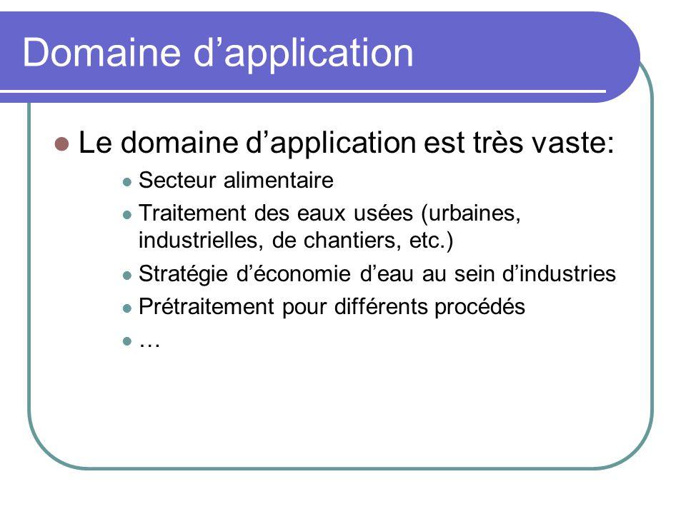 Domaine dapplication Le domaine dapplication est très vaste: Secteur alimentaire Traitement des eaux usées (urbaines, industrielles, de chantiers, etc
