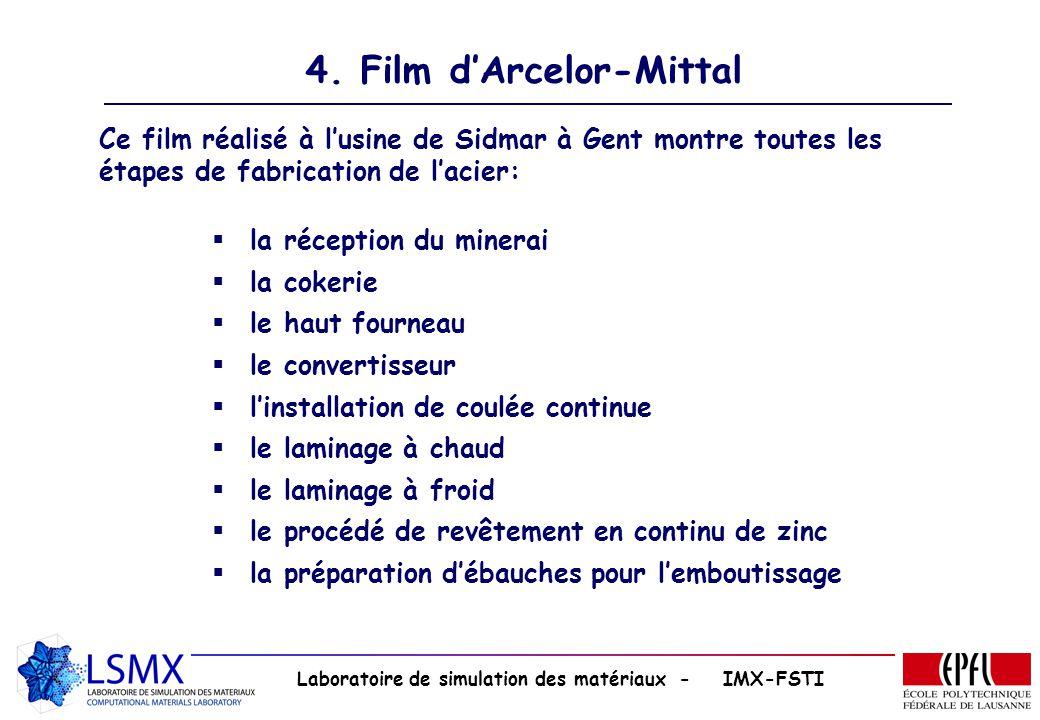 Laboratoire de simulation des matériaux - IMX-FSTI 4. Film dArcelor-Mittal Ce film réalisé à lusine de Sidmar à Gent montre toutes les étapes de fabri