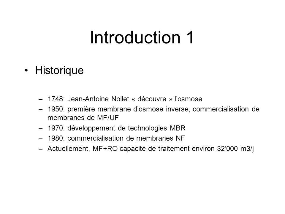 Introduction 1 Historique –1748: Jean-Antoine Nollet « découvre » losmose –1950: première membrane dosmose inverse, commercialisation de membranes de