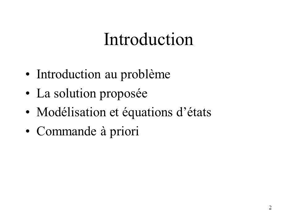 2 Introduction Introduction au problème La solution proposée Modélisation et équations détats Commande à priori
