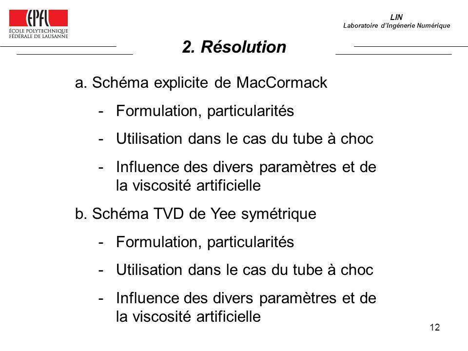 12 2. Résolution LIN Laboratoire dIngénerie Numérique a. Schéma explicite de MacCormack -Formulation, particularités -Utilisation dans le cas du tube