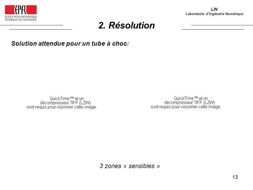 13 LIN Laboratoire dIngénerie Numérique Solution attendue pour un tube à choc: 3 zones « sensibles » 2. Résolution