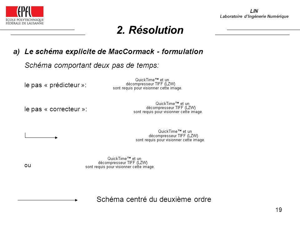 19 LIN Laboratoire dIngénerie Numérique a)Le schéma explicite de MacCormack - formulation Schéma comportant deux pas de temps: le pas « prédicteur »: