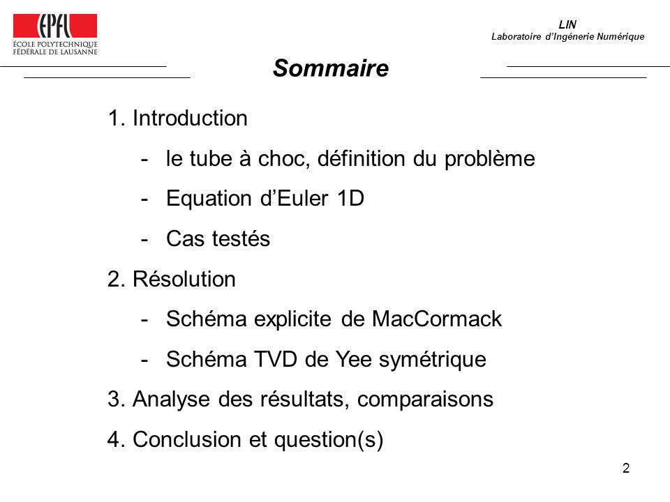 2 1.Introduction -le tube à choc, définition du problème -Equation dEuler 1D -Cas testés 2.Résolution -Schéma explicite de MacCormack -Schéma TVD de Y