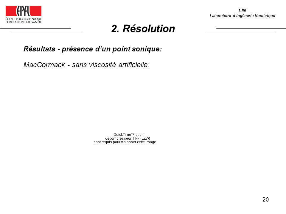 20 LIN Laboratoire dIngénerie Numérique Résultats - présence dun point sonique: MacCormack - sans viscosité artificielle: 2. Résolution
