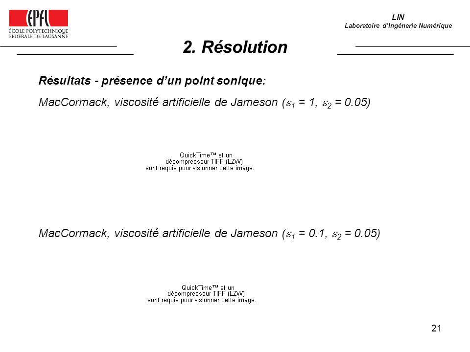 21 LIN Laboratoire dIngénerie Numérique Résultats - présence dun point sonique: MacCormack, viscosité artificielle de Jameson ( 1 = 1, 2 = 0.05) MacCo