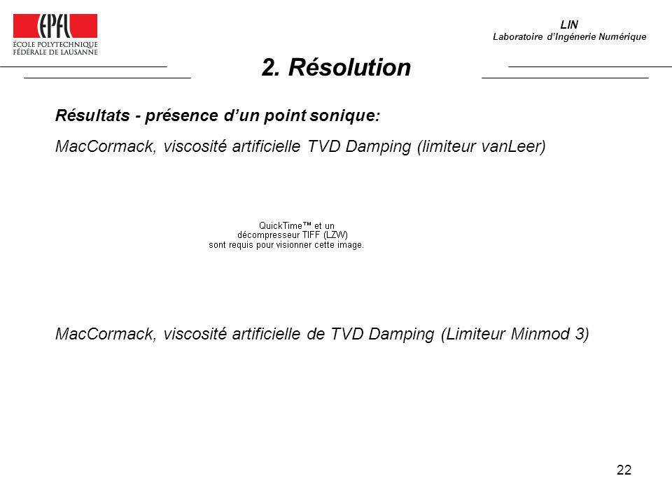 22 LIN Laboratoire dIngénerie Numérique Résultats - présence dun point sonique: MacCormack, viscosité artificielle TVD Damping (limiteur vanLeer) MacC