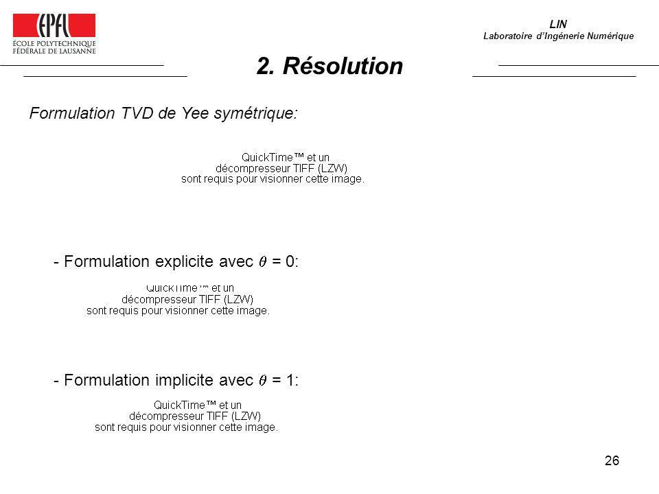 26 LIN Laboratoire dIngénerie Numérique Formulation TVD de Yee symétrique: - Formulation explicite avec = 0: - Formulation implicite avec = 1: 2. Réso