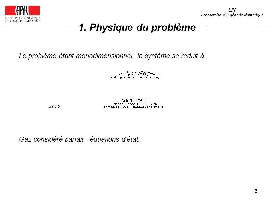 5 LIN Laboratoire dIngénerie Numérique Le problème étant monodimensionnel, le système se réduit à: avec Gaz considéré parfait - équations détat: 1. Ph