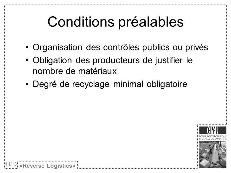 Conditions préalables Organisation des contrôles publics ou privés Obligation des producteurs de justifier le nombre de matériaux Degré de recyclage m