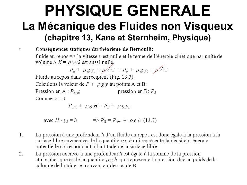 PHYSIQUE GENERALE La Mécanique des Fluides non Visqueux (chapitre 13, Kane et Sternheim, Physique) Conséquences statiques du théorème de Bernoulli: fl