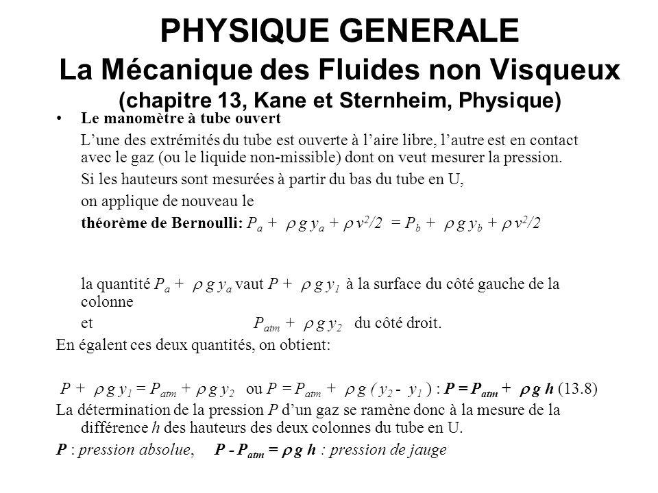 PHYSIQUE GENERALE La Mécanique des Fluides non Visqueux (chapitre 13, Kane et Sternheim, Physique) Le manomètre à tube ouvert Lune des extrémités du t