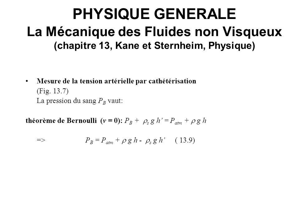 PHYSIQUE GENERALE La Mécanique des Fluides non Visqueux (chapitre 13, Kane et Sternheim, Physique) Mesure de la tension artérielle par cathétérisation