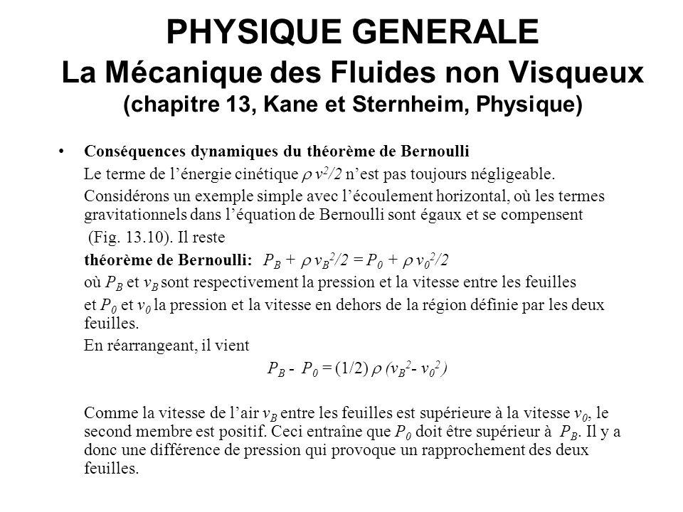 PHYSIQUE GENERALE La Mécanique des Fluides non Visqueux (chapitre 13, Kane et Sternheim, Physique) Conséquences dynamiques du théorème de Bernoulli Le