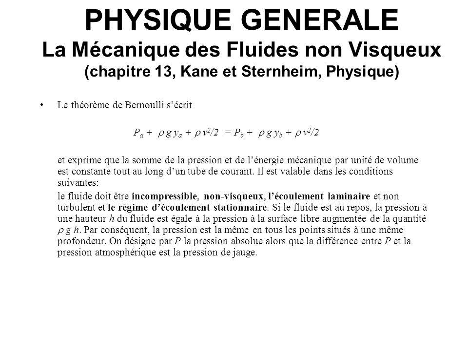 PHYSIQUE GENERALE La Mécanique des Fluides non Visqueux (chapitre 13, Kane et Sternheim, Physique) Le théorème de Bernoulli sécrit P a + g y a + v 2 /
