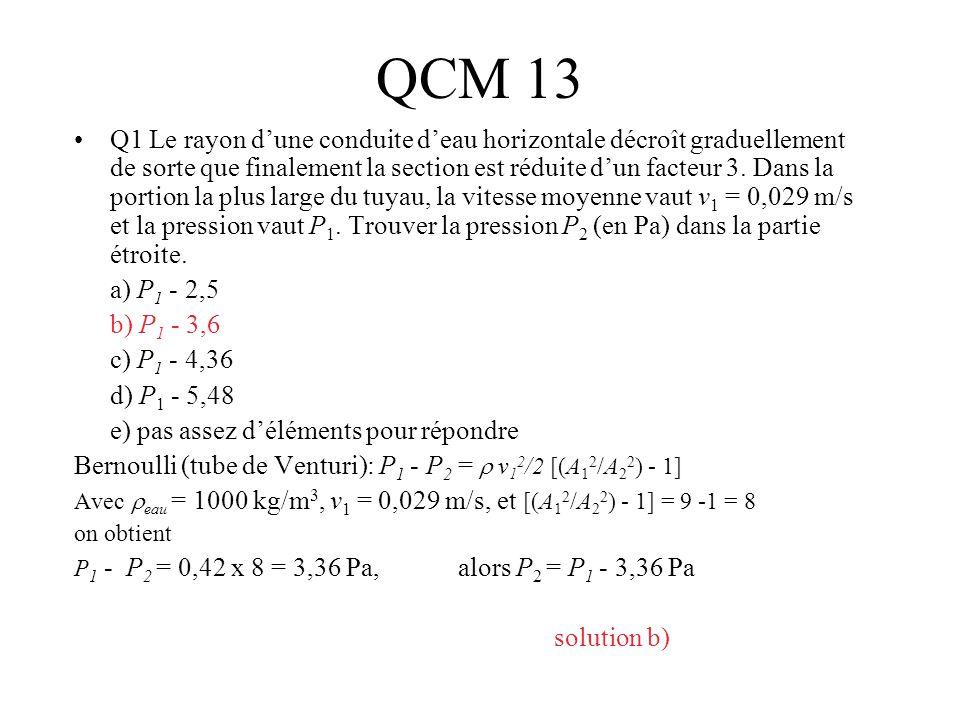 QCM 13 Q1 Le rayon dune conduite deau horizontale décroît graduellement de sorte que finalement la section est réduite dun facteur 3. Dans la portion